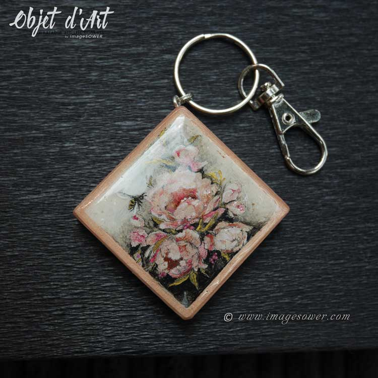 Personalized hand painted keychain, vintage roses, Objet d'Art jewelry by imageSOWER
