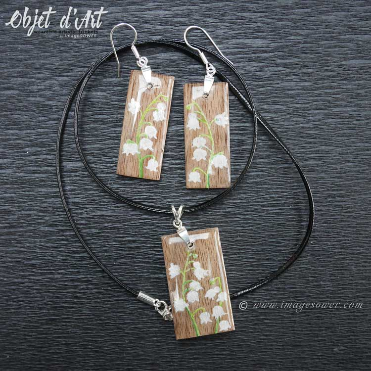 Personalized hand painted jewelry set, lily of the valley, Objet d'Art by imageSOWER
